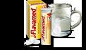 Vandens stiklinėje tirpstanti tabletė, vaizduojanti Flavamed® 60 mg šnypščiųjų tablečių dozavimą