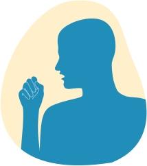 Paveikslėlyje rodomas dėl kvėpavimo takuose esančių dirgiklių į kumštį kosintis vyras