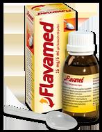 15 mg/5 ml Flavamed® sirupo, skirto šlapiam kosuliui gydyti, buteliukas su dėžute ir šaukšteliu