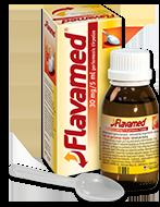 30 mg/5 ml Flavamed® sirupo, skirto šlapiam kosuliui gydyti, buteliukas su dėžute ir šaukšteliu