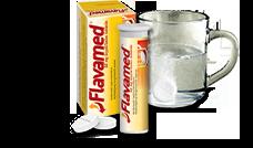 Vandenyje tirpstanti šnypščioji tabletė greta 60 mg Flavamed® šnypščiųjų tablečių nuo šlapio kosulio dėžutės